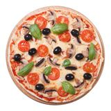 Mushroom pizza with olives, tomato and basil isolated Royalty Free Stock Image