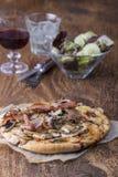 Mushroom pizza royalty free stock photos