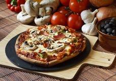 Mushroom Pizza slice. Funghi or ham and mushroom pizza Royalty Free Stock Image