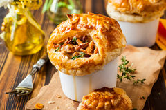 Mushroom Pot Pie. Individual Mushroom pot pie with puff pastry crust Royalty Free Stock Photo