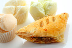 Mushroom puff pastry and Thai sponge cake. stock photo