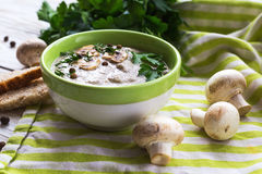 Mushroom puree soup with allspice, parsley, champignons and toasts. On wooden background. Selective focus stock photo