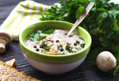 Mushroom puree soup with allspice, parsley, champignons and toasts. On wooden background. Selective focus royalty free stock photos