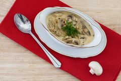 Mushroom ragout, champignons and onion in cream sauce. Gravy boat and Spoon on red fabric, mushroom ragout, champignons and onion in cream sauce Royalty Free Stock Photos