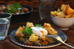 Mushroom ragout with poshed  egg Royalty Free Stock Images