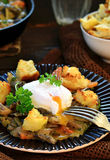 Mushroom ragout with poshed  egg Royalty Free Stock Photos