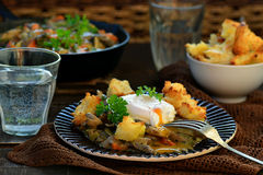 Mushroom ragout with poshed  egg Stock Images