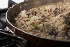 Mushroom risotto. Closeup of pan with mushroom risotto Royalty Free Stock Image