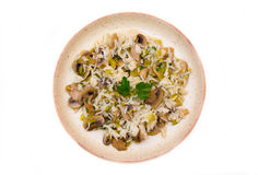 Mushroom risotto from above Royalty Free Stock Photo