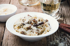 Mushroom risotto. Homemade traditional Italian risotto, mushroom risotto Royalty Free Stock Photos