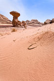Mushroom rock and arabic bead in desert Stock Photography