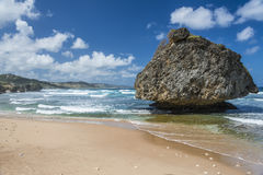Mushroom rock at Bathsheba, Barbados, West Indies. Distinctive eroded rock on the beach at Bathsheba, on the Atlantic east coast of the Caribbean island of royalty free stock photos