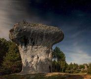 Mushroom rock Cuenca. Starry sky in the enchanted city Cuenca Royalty Free Stock Photos