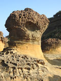 Mushroom rock formation at Taiwan's Yehliu geopark Royalty Free Stock Images