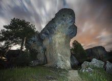 Mushroom rock. Night photography Cuenca in Spain mushroom rock Stock Image