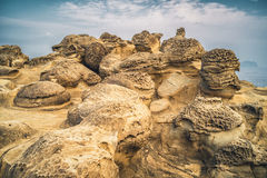 Mushroom Rock in Shenao of Ruifang District, New Taipei, Taiwan. From Shenao of Ruifang District, New Taipei, Taiwan Royalty Free Stock Photography