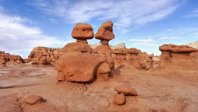 Mushroom rocks and bizarre sandstone rock formations called goblins Royalty Free Stock Photos