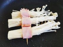 Bacon ang mushroom stock images