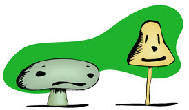 Mushroom Sad and Happy Faces. A short, poisonous mushroom with a frown and a psychedelic mushroom with a smile. EPS file has both mushrooms and the background in Royalty Free Stock Photos