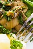 Mushroom and salad Stock Photography