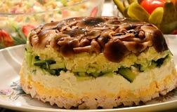The mushroom salad. Mushroom salad on a platter royalty free stock photos