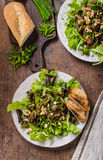 Mushroom salad with walnuts Royalty Free Stock Images