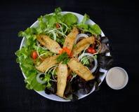 Mushroom salad on the white plate Royalty Free Stock Image