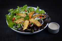 Mushroom salad on the white plate Royalty Free Stock Images