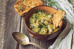 Mushroom sauce with thyme in a clay bowl with toasted bread. On rustic wooden background Royalty Free Stock Photo