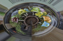 Mushroom sculpture 360. Ceramic house for smurfs 360 stock images