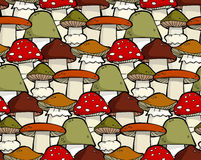 Mushroom seamless. Cartoon seamless background with mushrooms vector Royalty Free Stock Image