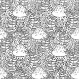 Mushroom seamless pattern. Seamless pattern in doodle style. Floral, ornate, decorative, tribal, forest vector design elements. Black and white background. Grass Stock Image