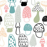 Mushroom seamless pattern. Vector modern doodle background. Great looks on kids textile Royalty Free Stock Image