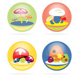 Mushroom set. Vector set of colorful mushroom Stock Photography