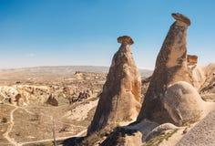 Mushroom shaped fairy chimneys rock formation near Goreme Stock Photos