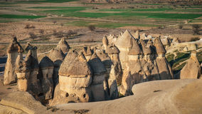 Mushroom shaped fairy chimneys rock formation in Pasabag valley Royalty Free Stock Photos