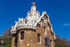 Mushroom Shaped House-Park Guell, Barcelona, Spain. Mushroom Shaped Gate House - Park Guell, Barcelona, Catalonia, Spain, Europe Stock Images