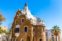 Mushroom Shaped House-Park Guell, Barcelona, Spain. Mushroom Shaped Gate House - Park Guell, Barcelona, Catalonia, Spain, Europe Royalty Free Stock Image