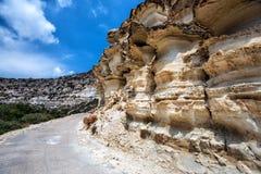 Mushroom shaped mountains on Crete island, Greece Royalty Free Stock Photo