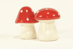 Mushroom shaped salt and pepper. Cute ceramic mushroom shaped salt and pepper shakers Royalty Free Stock Photography