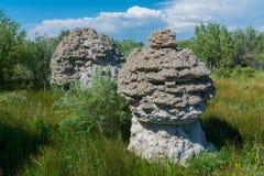 Mushroom Shaped Tufa. Odd shaped tufa near Mono Lake in California Royalty Free Stock Photo