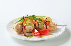 Mushroom skewer with potatoes Stock Photos