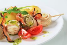 Mushroom skewer with potatoes Royalty Free Stock Photography