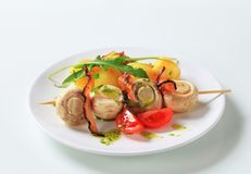 Mushroom skewer with potatoes Stock Photography