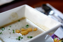 Mushroom Soup. A bowl of mushroom soup with croutons and parsley Royalty Free Stock Photo