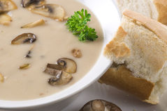 Mushroom Soup. In a bowl with bread Stock Image