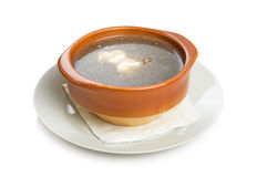 Mushroom soup. Russian mushroom soup with sour cream Stock Photography