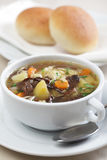 Mushroom soup. With vegetables and pasta Stock Photos