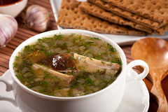 Mushroom soup. Soup with mushroom and onion royalty free stock images