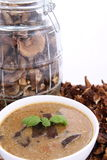 Mushroom Soup And Dried Mushrooms Stock Images